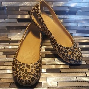 Crocs Slip On Leopard Print Flats Size 9 Wide